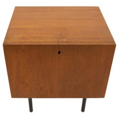 Danish Teak Mid Century Key Holder Nightstand