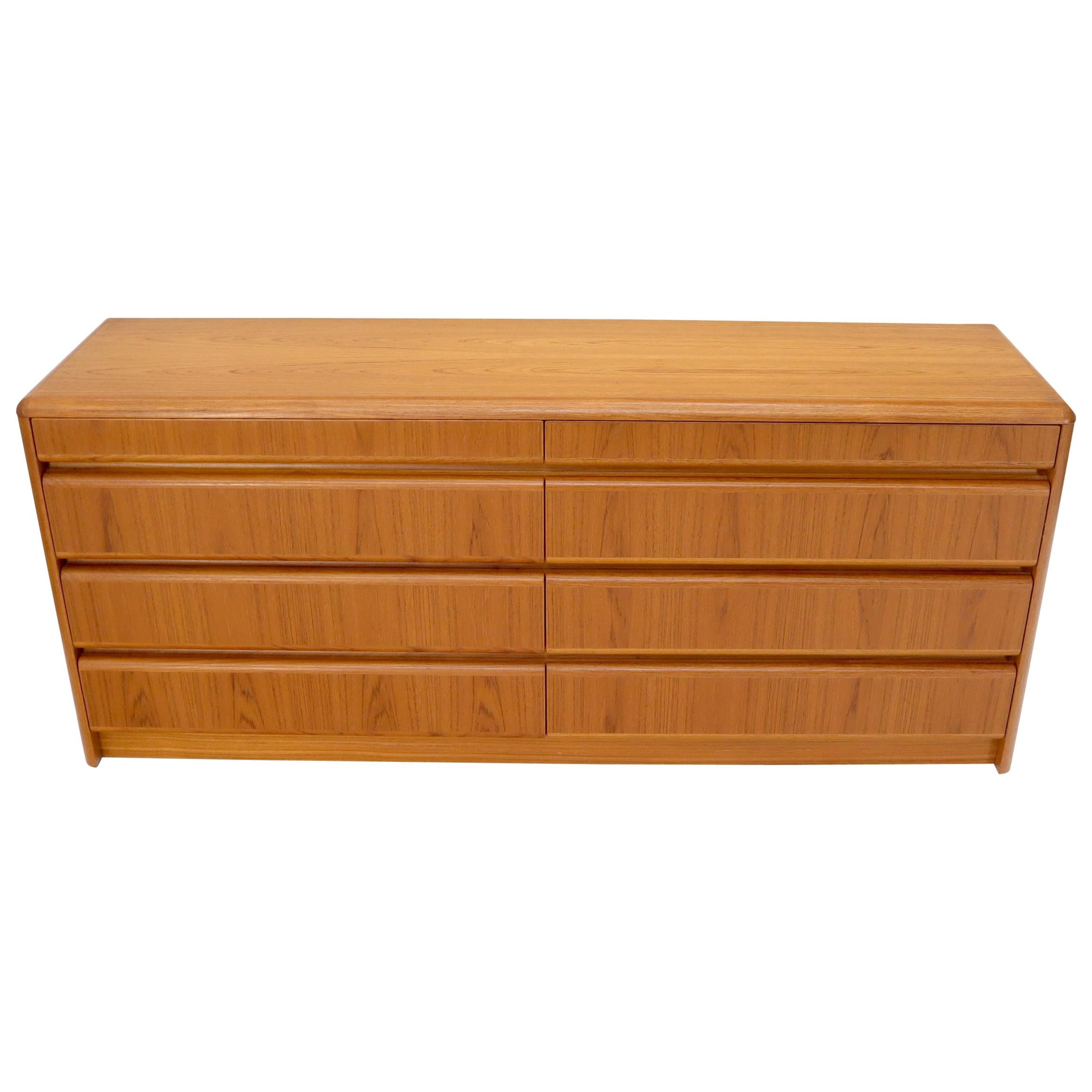 Danish Teak Mid-Century Modern 8 Drawers Dresser
