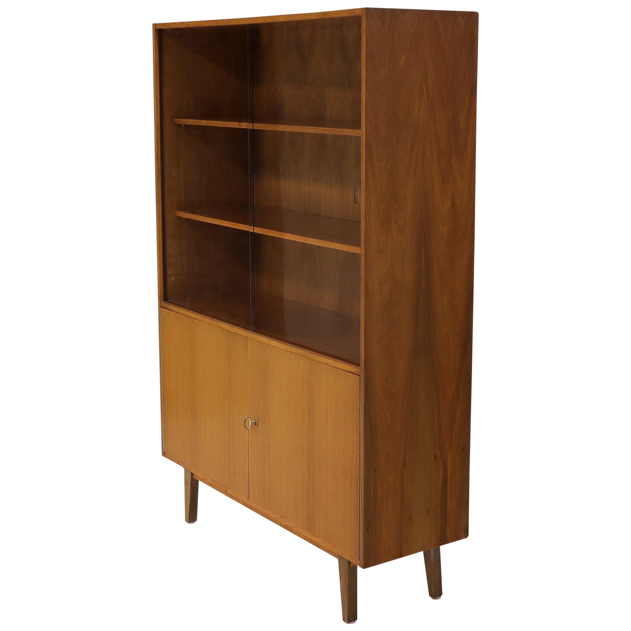 Danish teak Mid-Century Modern Bookcase Cabinet Credenza Hutch Two Glass Doors