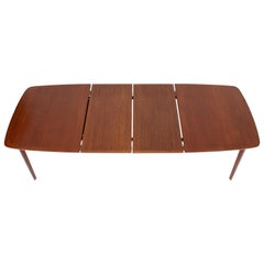 Danish Teak Mid-Century Modern Dining Banquet Table Self Storing Folding Leafs
