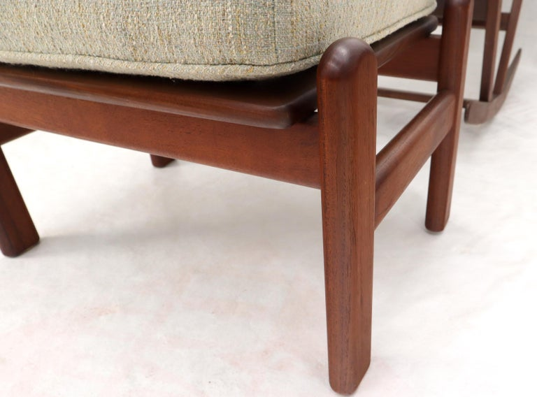 Danish Teak Mid-Century Modern Lounge Rocking Chair with Ottoman For Sale 8
