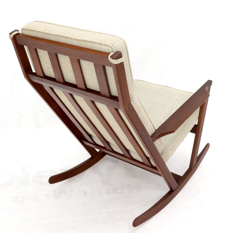 Danish Teak Mid-Century Modern Lounge Rocking Chair with Ottoman For Sale 10