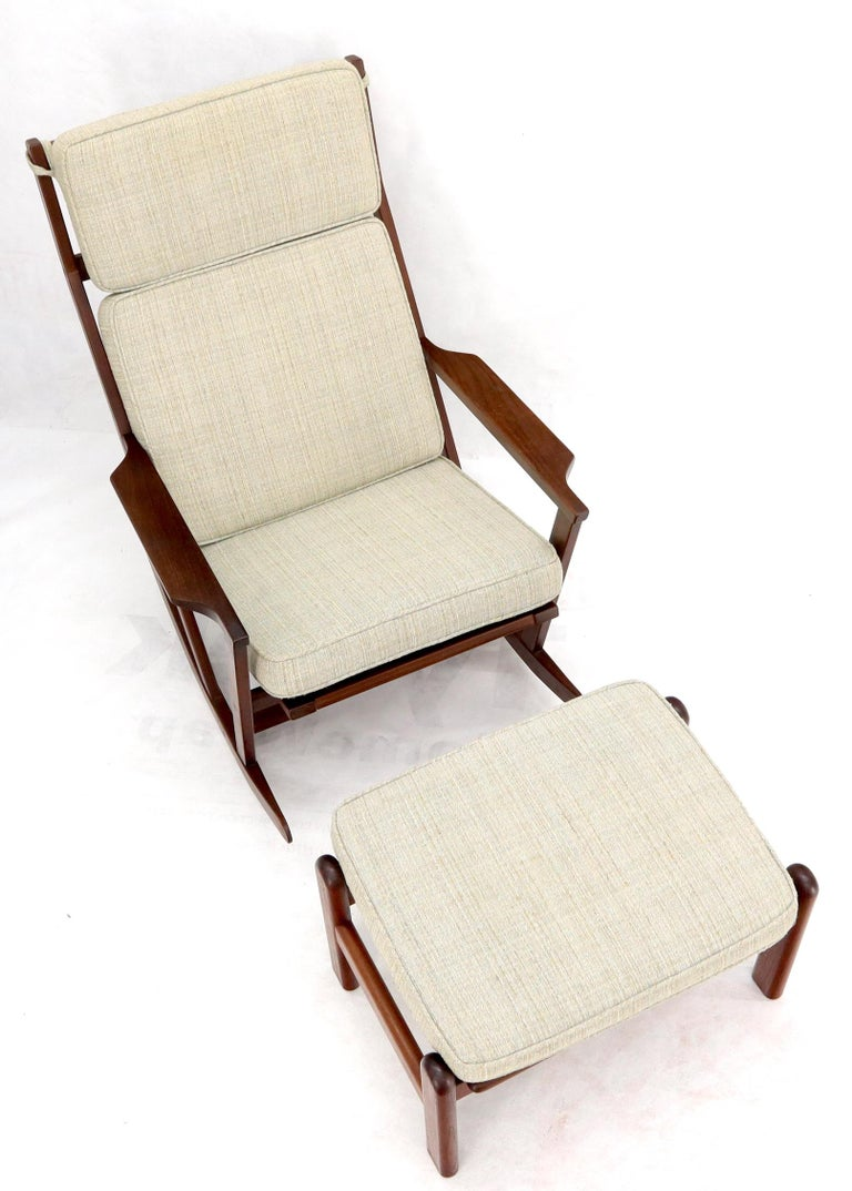 20th Century Danish Teak Mid-Century Modern Lounge Rocking Chair with Ottoman For Sale