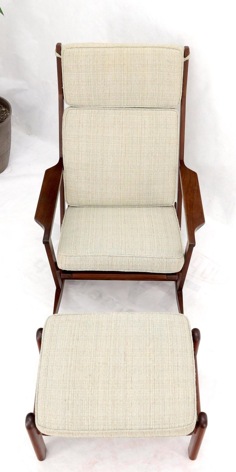 Upholstery Danish Teak Mid-Century Modern Lounge Rocking Chair with Ottoman For Sale