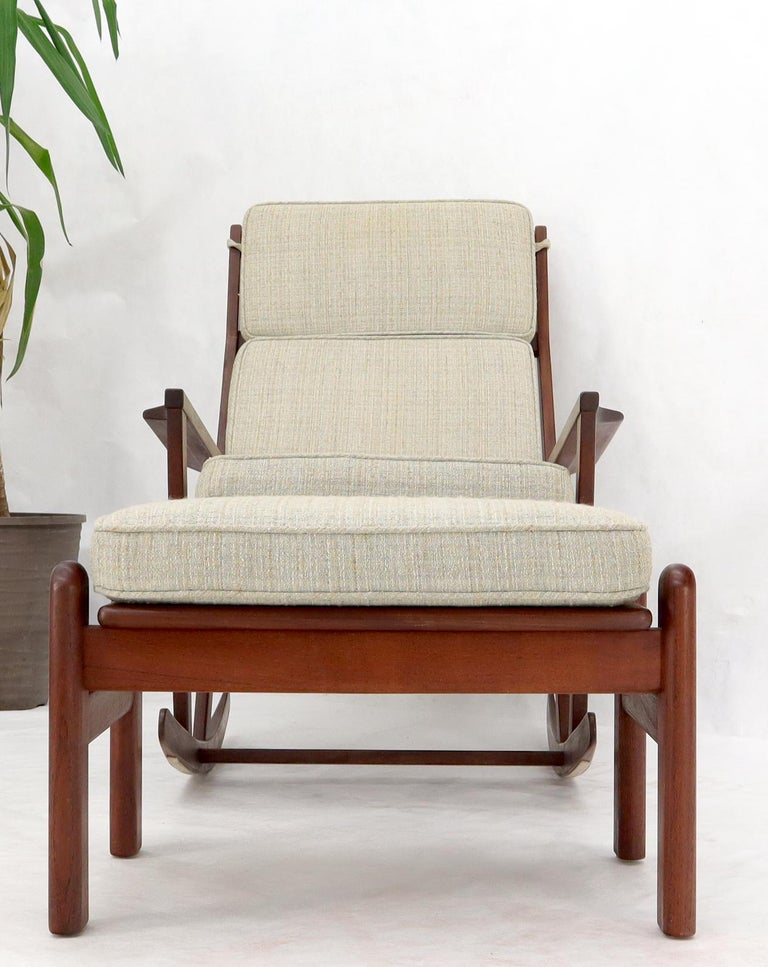 Danish Teak Mid-Century Modern Lounge Rocking Chair with Ottoman For Sale 1
