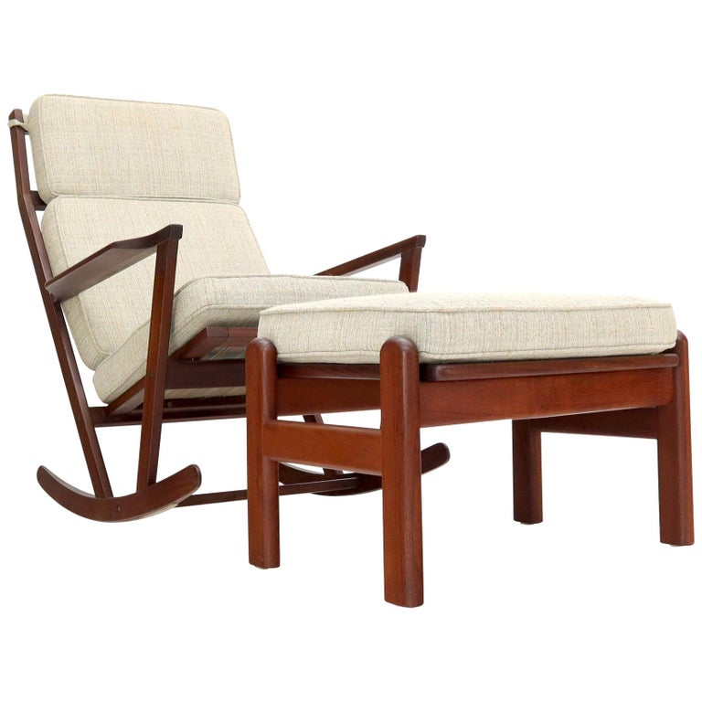Danish Teak Mid-Century Modern Lounge Rocking Chair with Ottoman For Sale