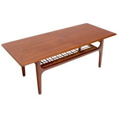 Danish Teak Mid-Century Modern Rectangular Coffee Table with Cane Shelf