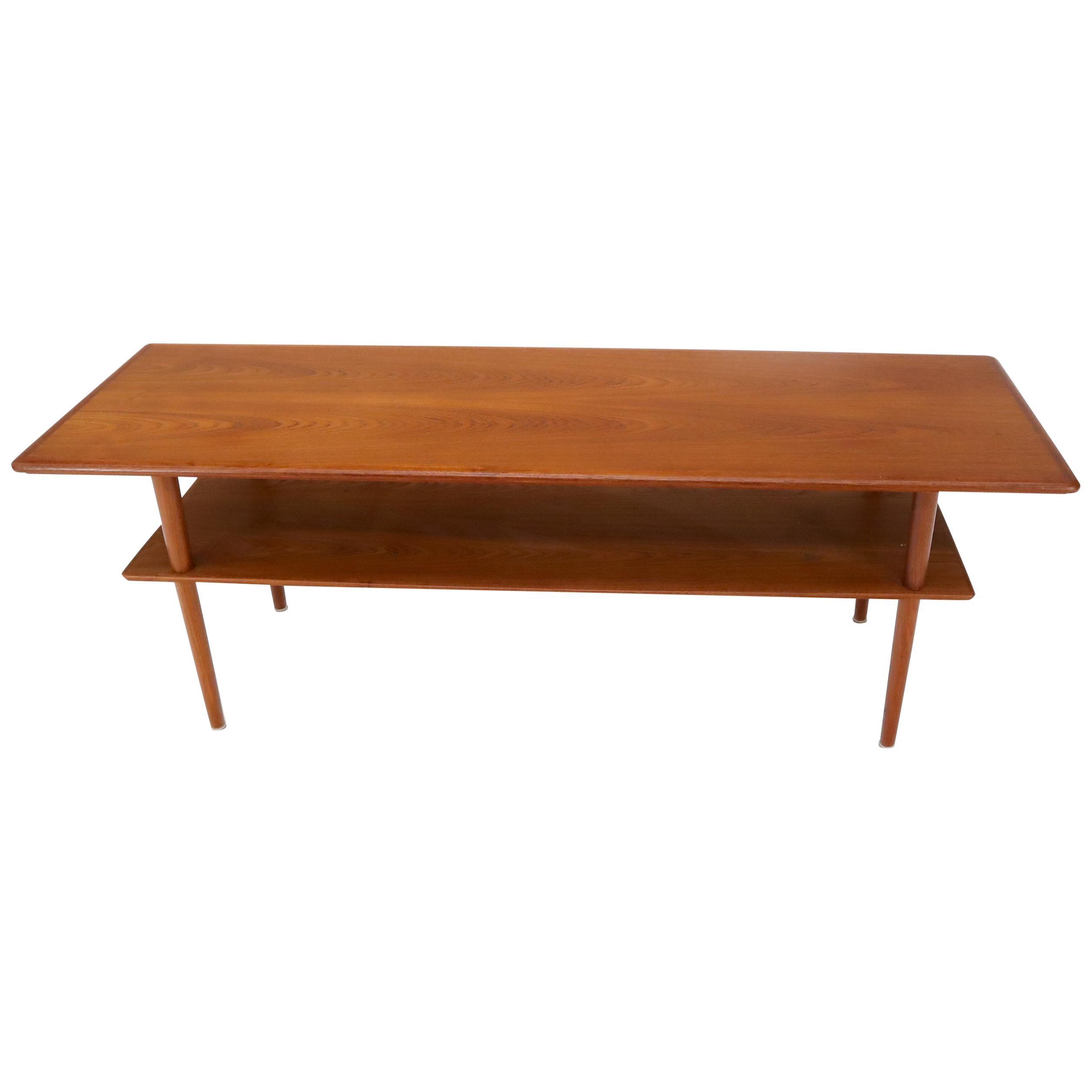 Danish Teak Mid-Century Modern Rectangular One Shelf Coffee Table
