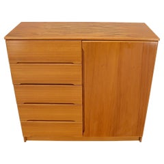 Danish Teak Mid-Century Modern Side by Side Chest of 5 Drawers Door Compartment