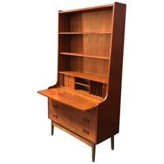 Danish Teak Midcentury Secretaire Desk Bookcase by Johannes Sorth for Bornholm