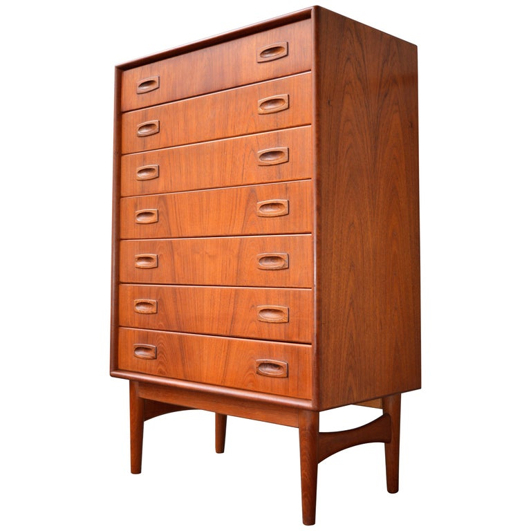 Danish teak narrow highboy dresser chest of drawers by - Shallow dressers for small spaces ...
