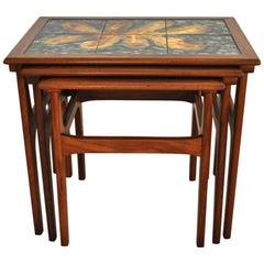 Danish Teak Nesting Tables with Ceramic Tiles from the 60s