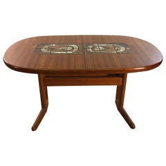 Danish Teak Oval Tile Top Dining Table by Am Mobler
