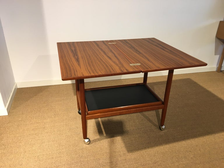 Danish Teak Roll/Serving/ Tray Table by Grethe Jalk In Good Condition In Odense, Denmark
