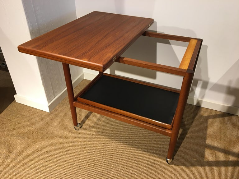 Danish Teak Roll/Serving/ Tray Table by Grethe Jalk 1