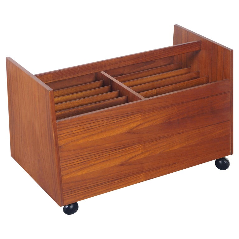 Danish Teak Rolling Magazine or Record Stand by Rolf Hesland For Sale
