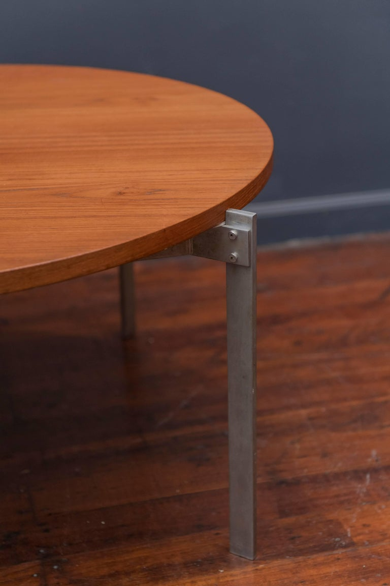 Danish Teak Round Coffee Table In Good Condition For Sale In San Francisco, CA