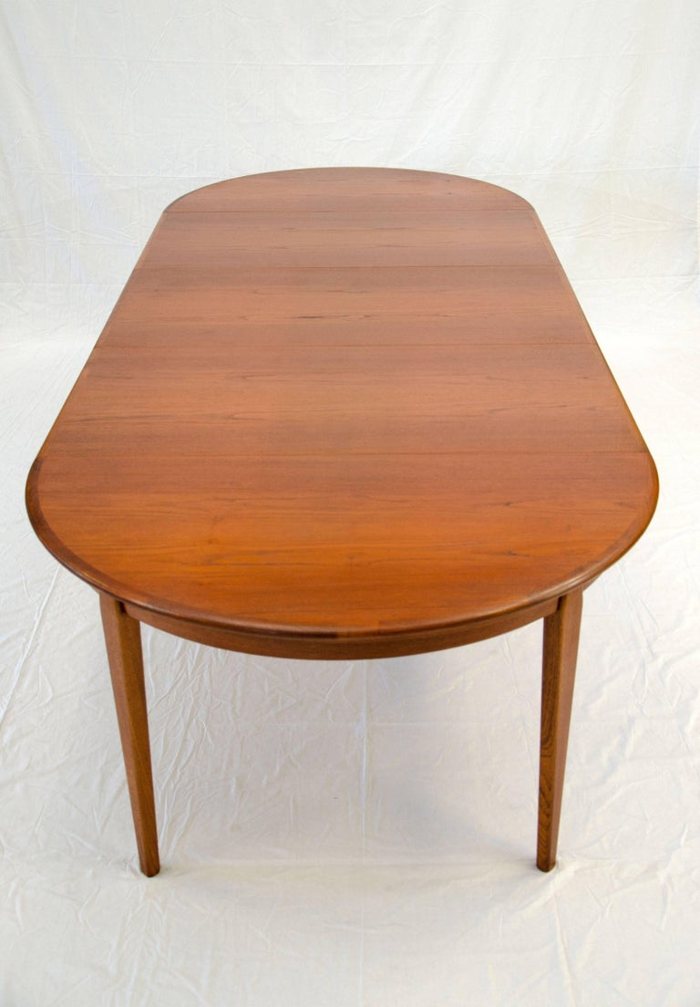 Danish Teak Round Dining Table Three Leaves With Aprons