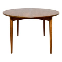 Danish Teak Round Dining Table with Two Leaves, Circa 1950s