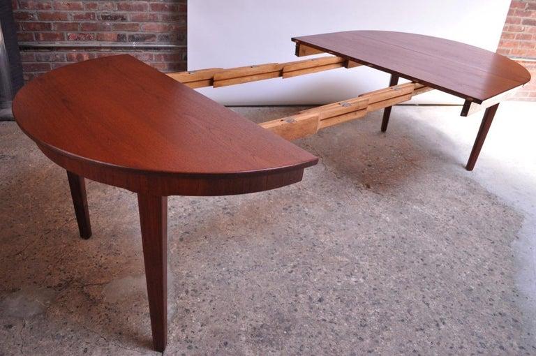 Danish Teak Round Extendable Dining Table By Skovmand