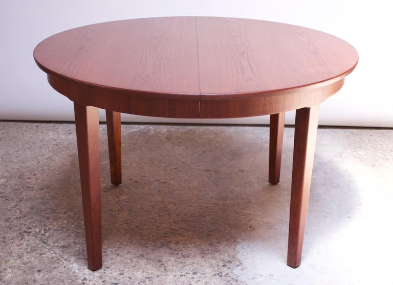 Danish Teak Round Extendable Dining Table By Skovmand Andersen