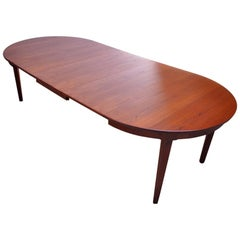 Danish Teak Round Extendable Dining Table by Skovmand Andersen