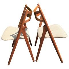 Danish Teak Sawbuck Chairs by Hans J. Wegner