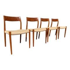 Danish Teak Sculptural Danish Cord Dining Chairs, Set of 4