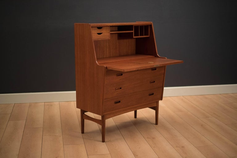 7c4c1d9ed6306 Danish Modern secretary desk designed by Arne Wahl Iversen in teak. This  piece displays a