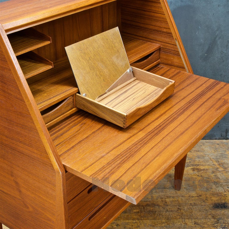 Mid-20th Century Danish Teak Secretary Writing Desk Cabinet Scandinavian Cabinmodern Nils Jonsson For Sale