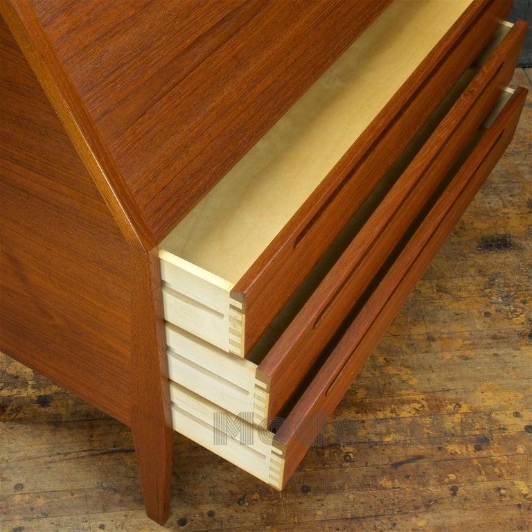 Danish Teak Secretary Writing Desk Cabinet Scandinavian Cabinmodern Nils Jonsson For Sale 1