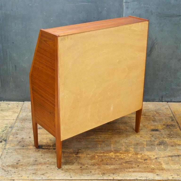 Danish Teak Secretary Writing Desk Cabinet Scandinavian Cabinmodern Nils Jonsson For Sale 2