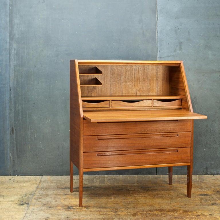 Danish Teak Secretary Writing Desk Cabinet Scandinavian Cabinmodern Nils Jonsson For Sale 3