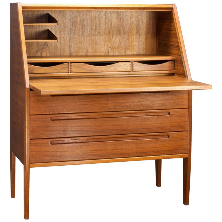 Danish Teak Secretary Writing Desk Cabinet Scandinavian Cabinmodern Nils Jonsson For Sale