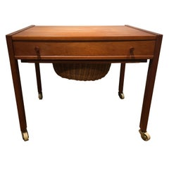 Danish Teak Sewing Table, Made by Danish Carpenter