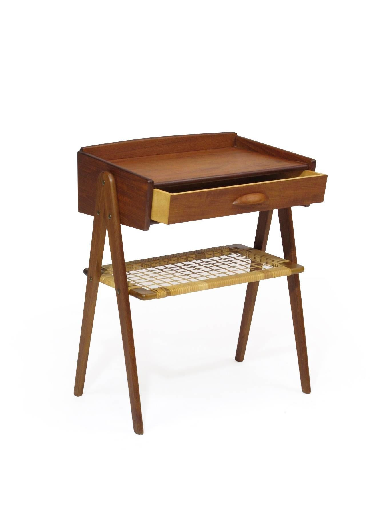 Danish Teak Side Table Nightstand With Woven Cane Shelf For Sale At 1stdibs