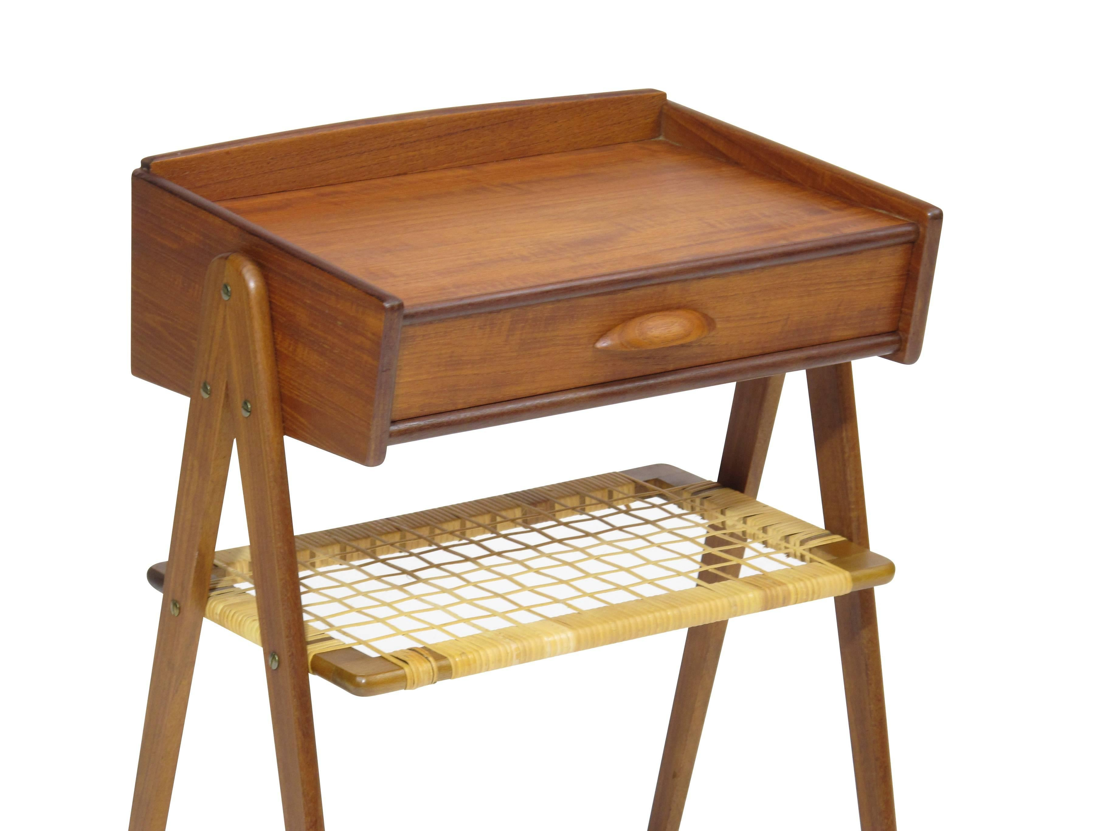 Danish Teak Side Table Nightstand With Woven Cane Shelf For Sale At - Teak side table with drawer