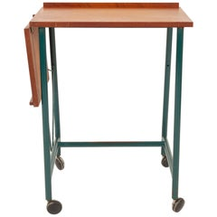 Danish Teak Side Table with Green Metal Frame, 1960s