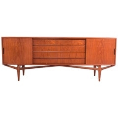 Danish Teak Sideboard with Drawers and Sliding Doors, 1960s