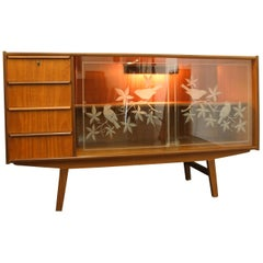 Danish Teak Sideboard with Glass Doors, 1960s