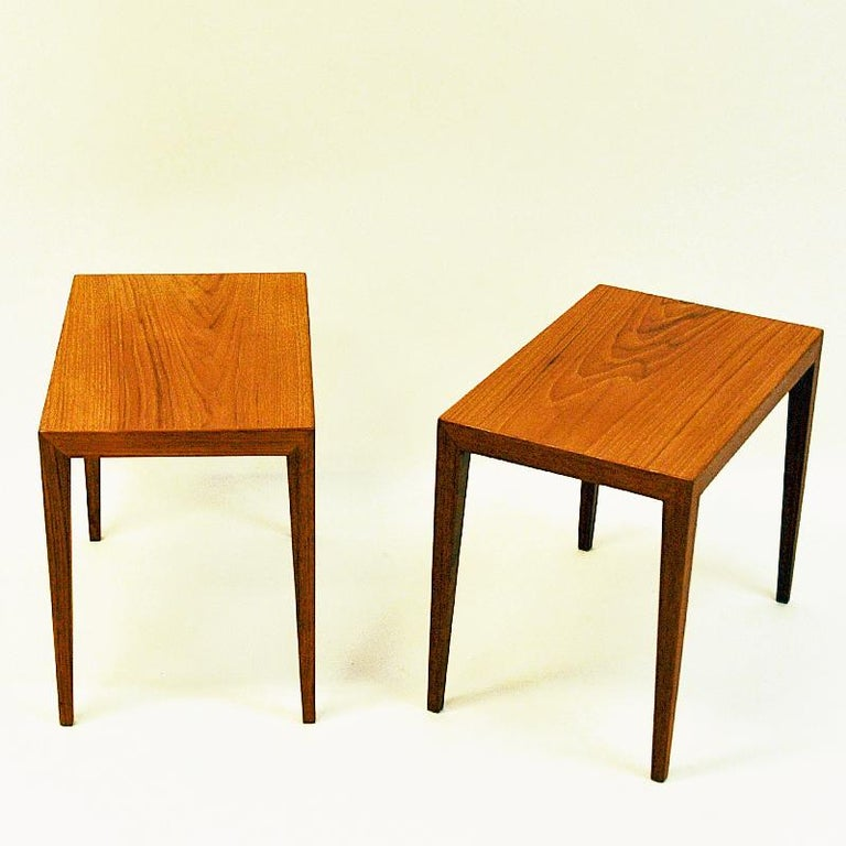 Gorgeous pair of teak side tables designed by Severin Hansen for Haslev Møbelsnedkeri in the mid-1950s. Denmark. These occasional tables can also be used together as a coffee table. Each table has mitered corners and edges with simple and elegant