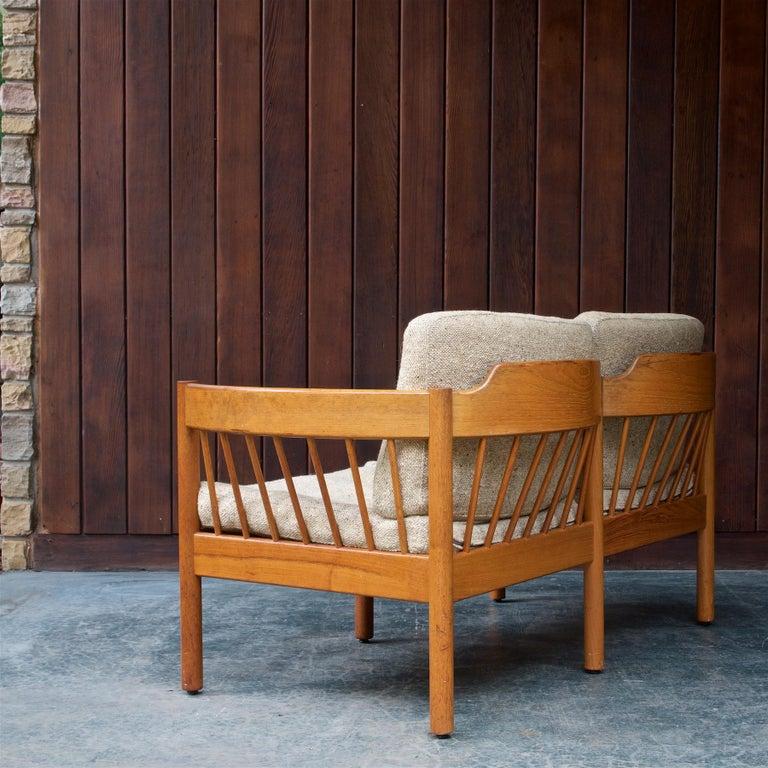 Danish Teak Spindle Back Sofa by Jorgen Baermark FDB Midcentury Cabin Rustic In Fair Condition For Sale In Washington, DC