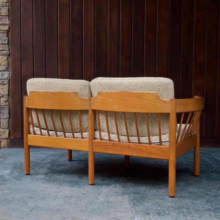 Danish Teak Spindle Back Sofa by Jorgen Baermark FDB Midcentury Cabin Rustic For Sale 1