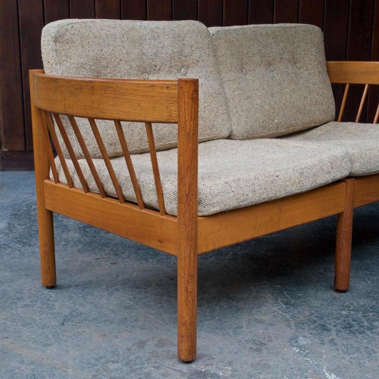 Danish Teak Spindle Back Sofa by Jorgen Baermark FDB Midcentury Cabin Rustic For Sale 3