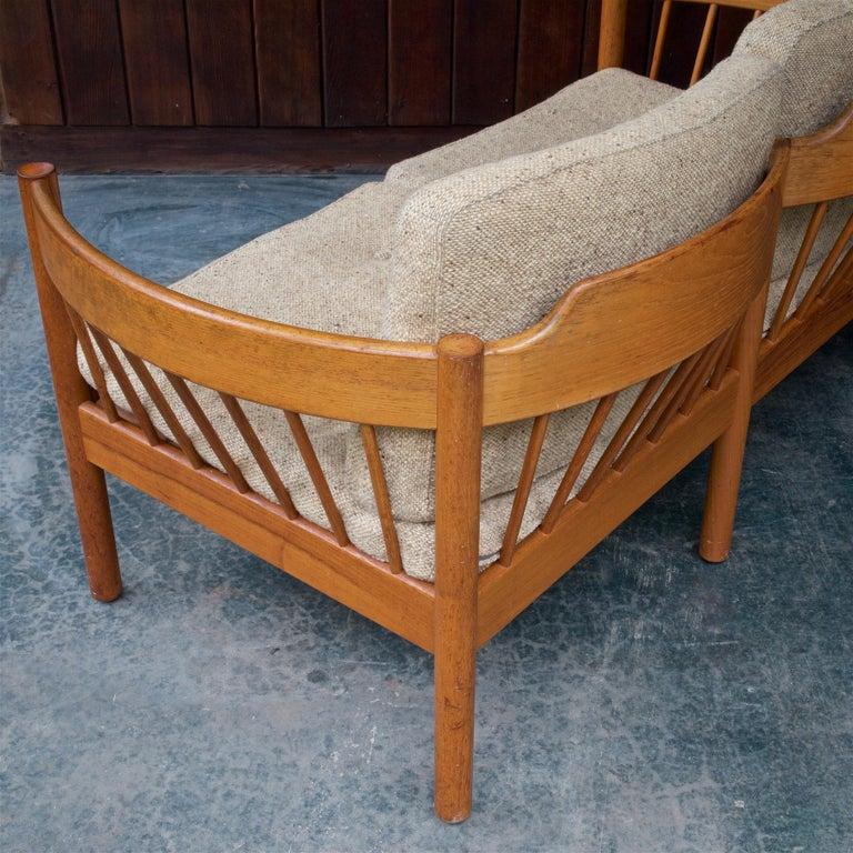 Danish Teak Spindle Back Sofa by Jorgen Baermark FDB Midcentury Cabin Rustic For Sale 4