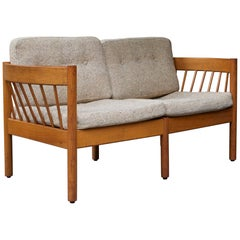 Danish Teak Spindle Back Sofa by Jorgen Baermark FDB Midcentury Cabin Rustic