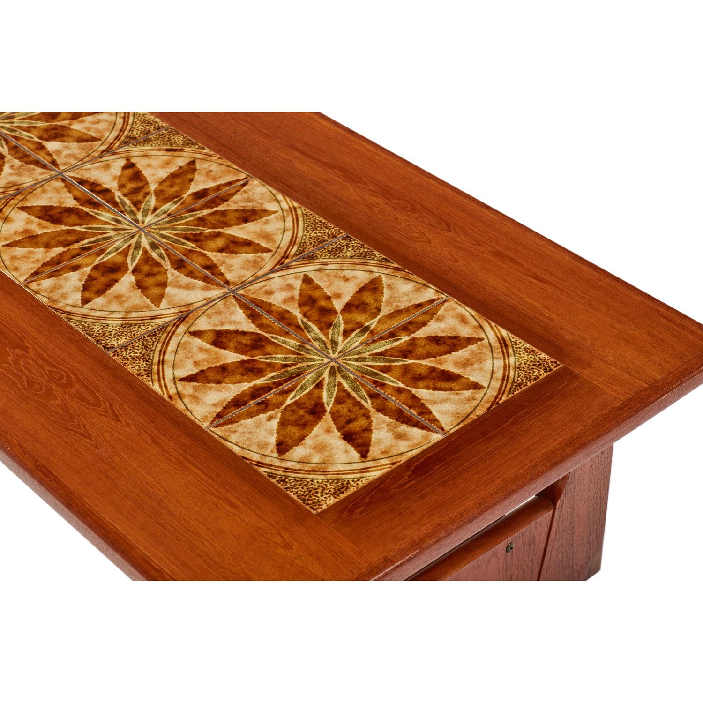 Danish Teak Stone Tile Leaf Motif Coffee Table By BRDR Furbo