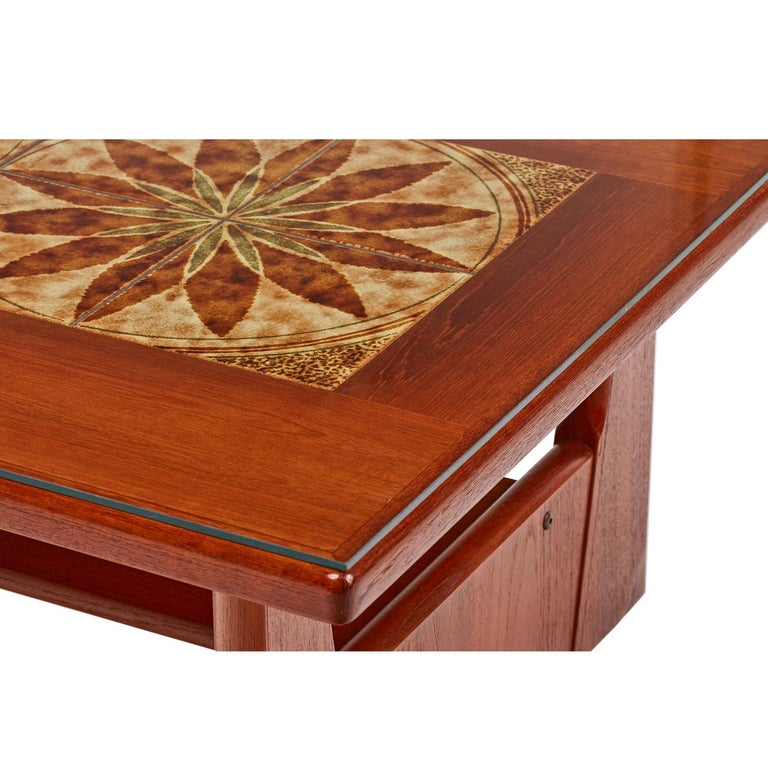Danish Teak Stone Tile Leaf Motif Coffee Table by BRDR ...