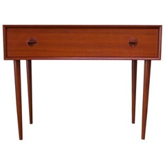 Danish Teak Student Desk / Vanity with Drop-Down Surface by Povl Dinesen