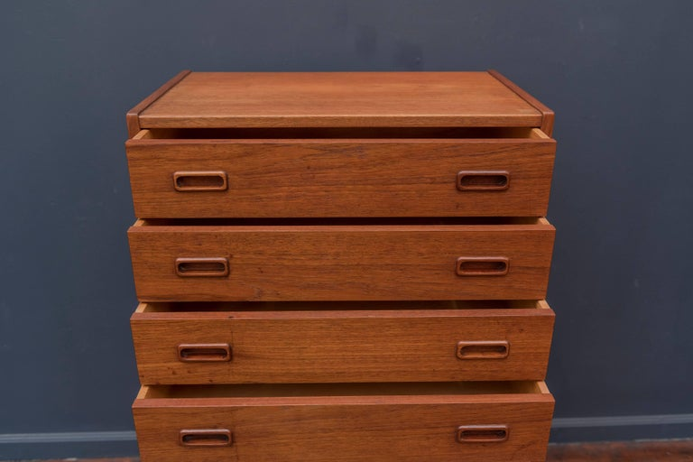 Danish Teak Tall Chest of Drawers In Good Condition For Sale In San Francisco, CA